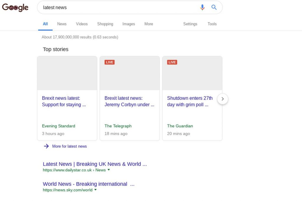 Google post a preview of what search results could look like in Europe, if Article 11 in enacted.